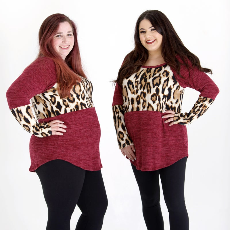 Deep Cranberry Wild Sweater Knit Top - CURVY