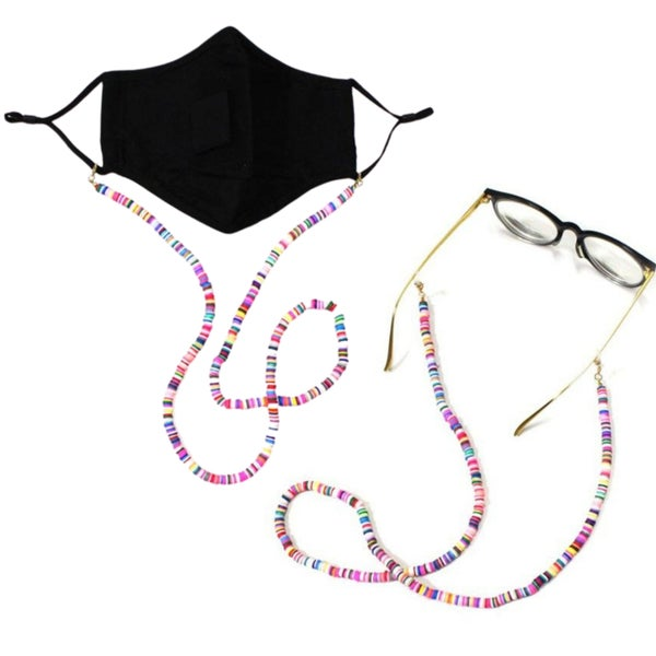Rainbow Disc Bead - Glasses or Mask Keeper Necklace