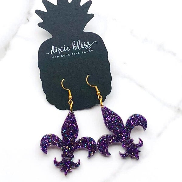 Fleur de Lis - Purple - Dangle Earrings