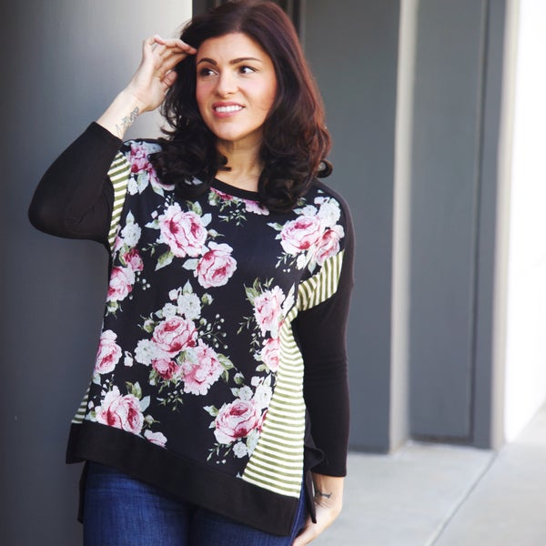 Floral and Stripe Sweater Top