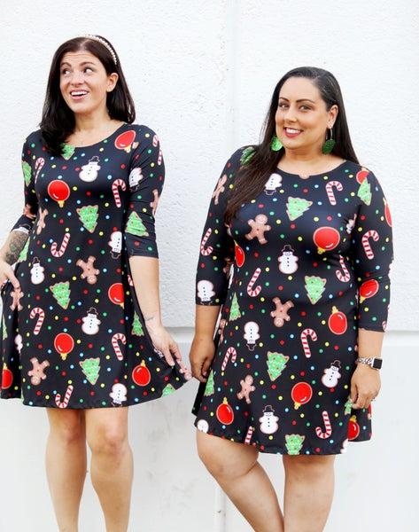 Rockin' Around The Christmas Tree Dress - Soft, Stretchy, Pockets! Reg/Plus