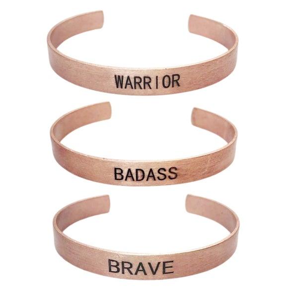 Mantra Empowerment Cuff Bracelet - Rose Gold