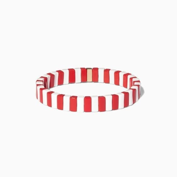 Red and White Enamel Tile Stretch Bracelet
