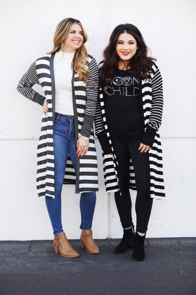 Striped Stretchy Duster Cardigan w/Thumbholes
