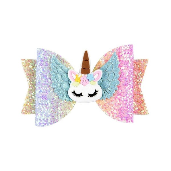 Rainbow Ombre Glitter Unicorn Hair Clip