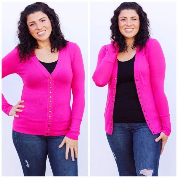 Hot Pink Snap-Button Cardigan - Reg/Plus