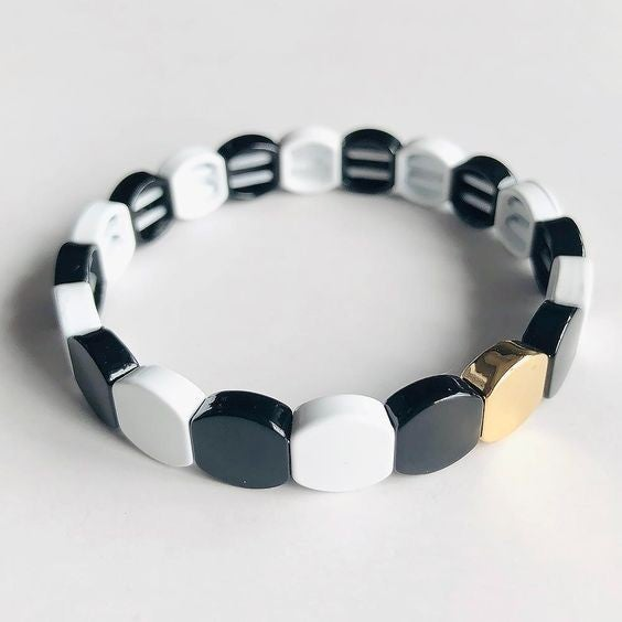 Black and White Honeycomb Enamel  Bead Stretch Bracelet