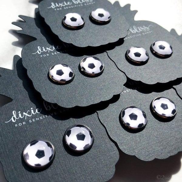 Soccer - Photo Glass - Stud Earrings