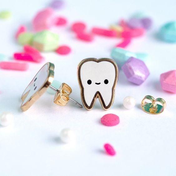 Happy Teeth - 22k Gold Plated Stud Earrings