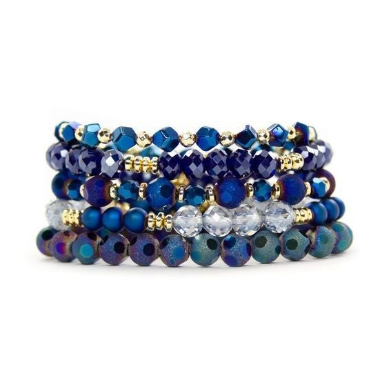 Midnight Navy  Bracelet Stack - Available in Standard & Extended Wrist Sizes!