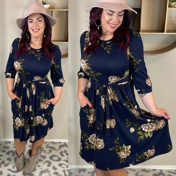 Spring Stunner - Stretchy 3/4 Sleeve Dress