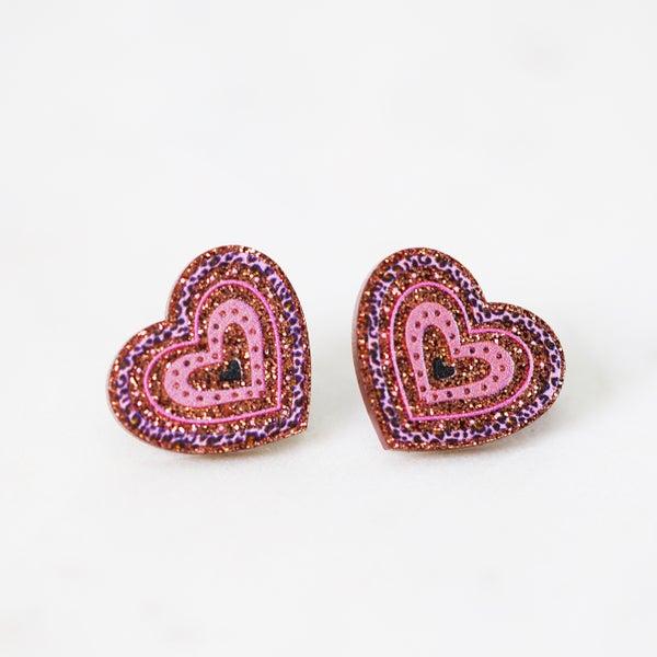 Glitter Leopard Hearts - Acrylic Stud Earrings