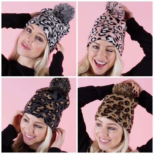 Leopard Pom Pom Beanie