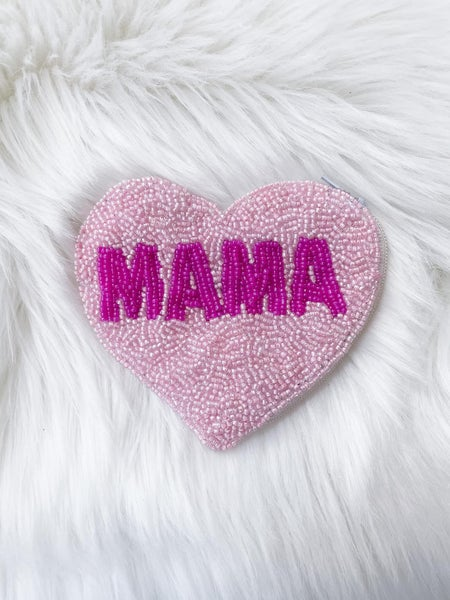 Mama - Beaded Coin/Card Purse - 3 Color Options