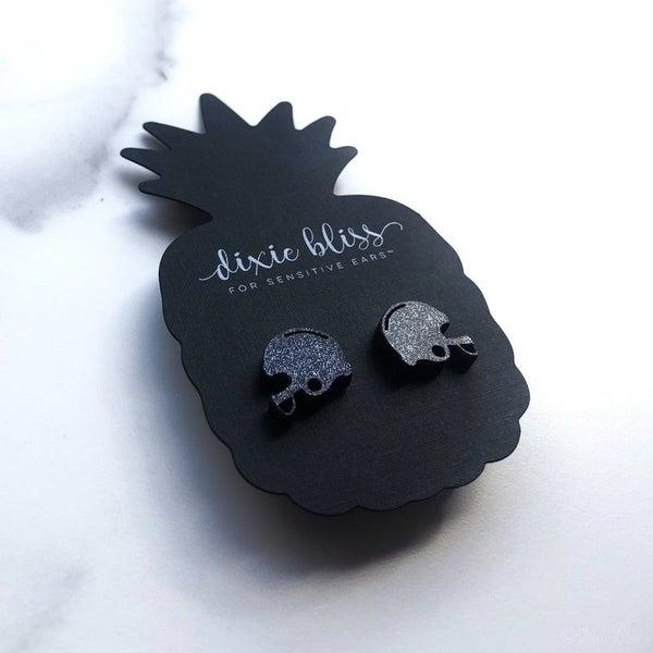 Black Football Helmets - Stud Earrings