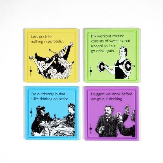 Coaster 4pk: Silicone: Funny Someecards Jokes