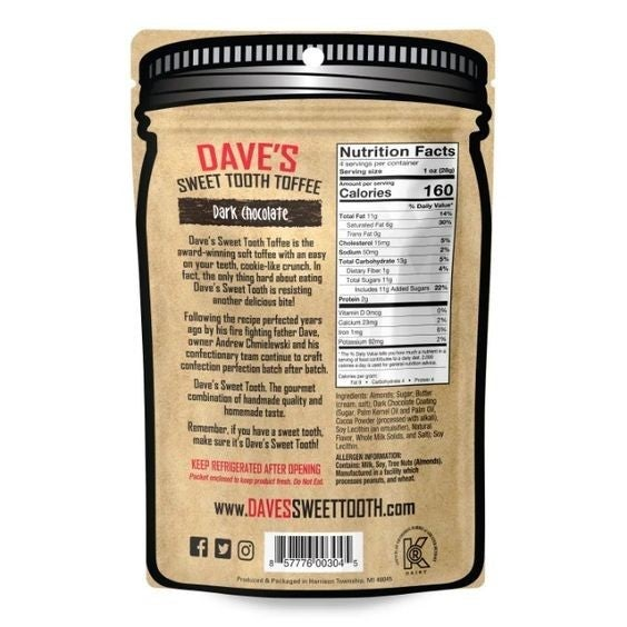 Dark Chocolate Toffee - Dave's Sweet Tooth