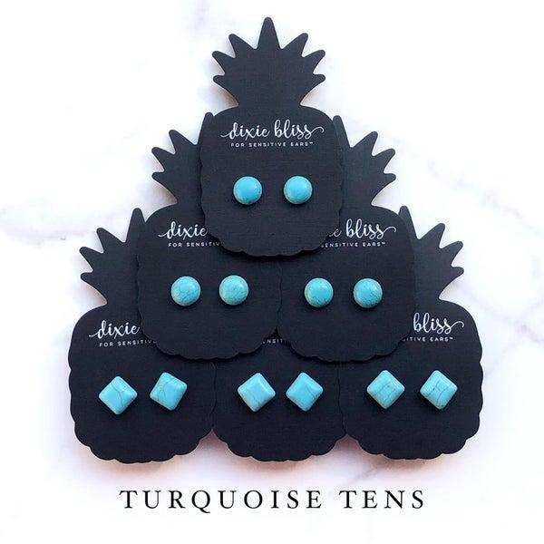 Turquoise Tens - Stud Earrings