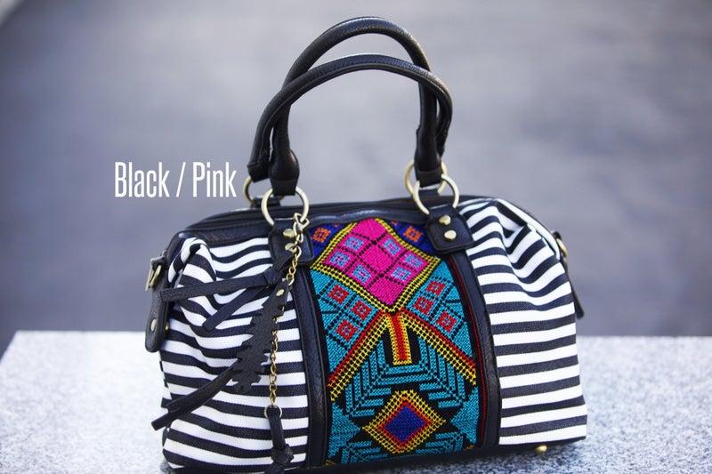 Wild At Heart - Boho Striped Embroidered Handbag