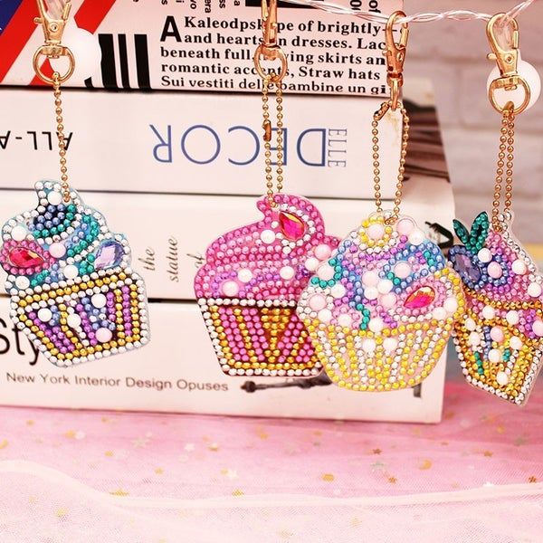 DIY Cupcake Keyring Diamond Painting - 4 Pack!