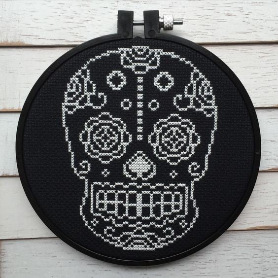Black and White Sugar Skull DIY Cross Stitch Kit