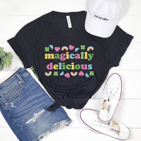 Magically Delicious - Unisex  V-Neck Tee - Reg/Plus