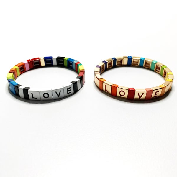 Love Rainbow Enamel Tile Stretch Bracelet