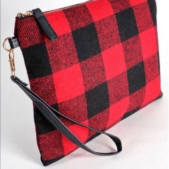 Buffalo Plaid - Clutch Wristlet Bag