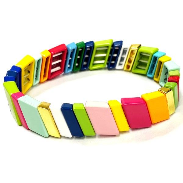 Rainbow Slant Enamel Tile Bead Stretch Bracelet