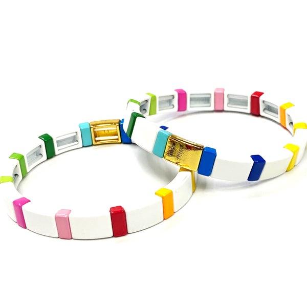 White with Rainbow Enamel Tile Beads Stretch Bracelet