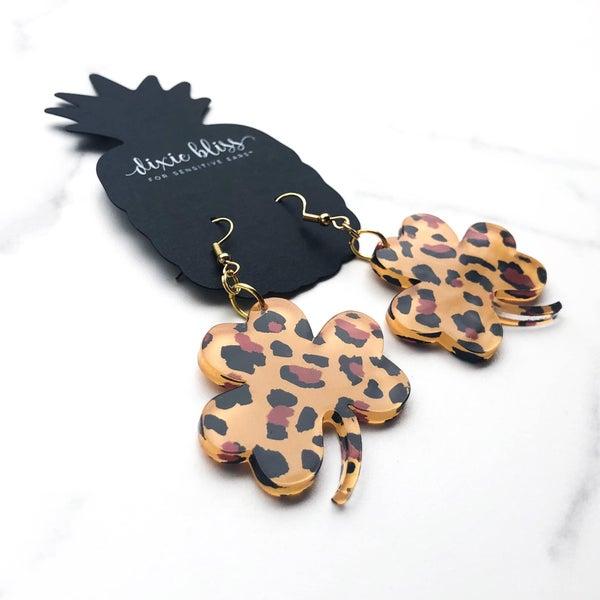 Leopard Shamrock - Dangly Earrings