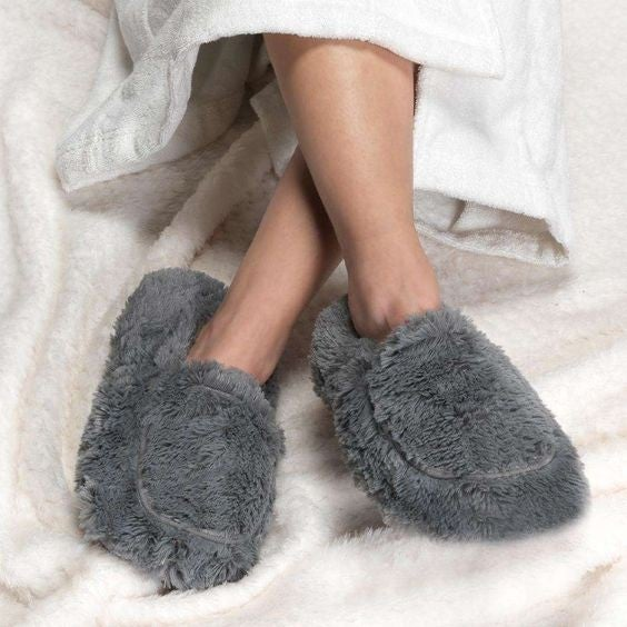 Gray - Warmies Slippers - Fully Microwaveable