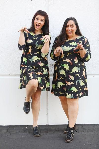 Rawr Dino - Long-Sleeve Dress with Pockets - Reg/Plus