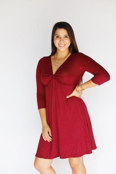 Guinevere - Stretchy V-Neck Empire Waist Dress