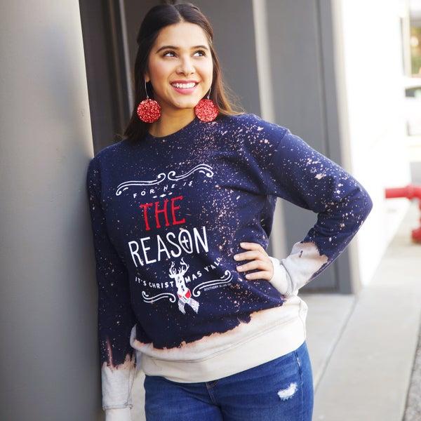 HE is the REASON - Hand-Distressed Sweatshirt - Reg/Plus