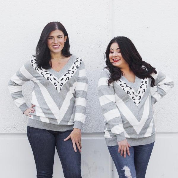 Leopard Chevron V-Neck Sweater Top