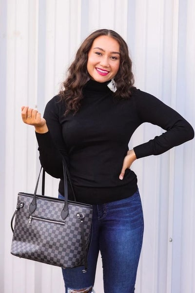 The Tory - Checkered Handbag + Clutch in Black