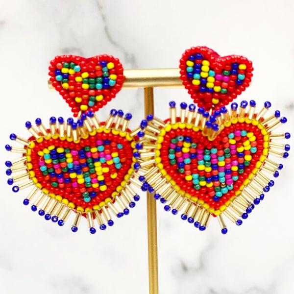 Mi Corazon - Seed Bead Earrings