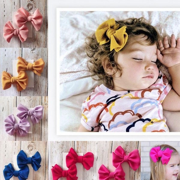 "4"" Soft Waffle Fabric Bow Barrette - 2 Pack"