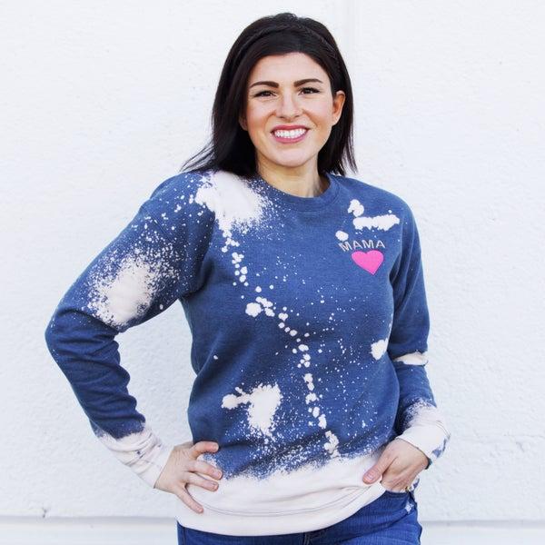 Mama - Embroidered & Custom Bleached Unisex Sweatshirt - Reg/Plus