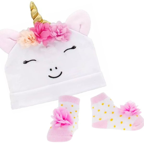 Unicorn Baby Hat & Sock Gift Set
