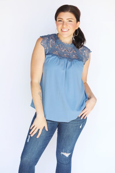 Blue Crochet Cap Sleeve Drape Blouse