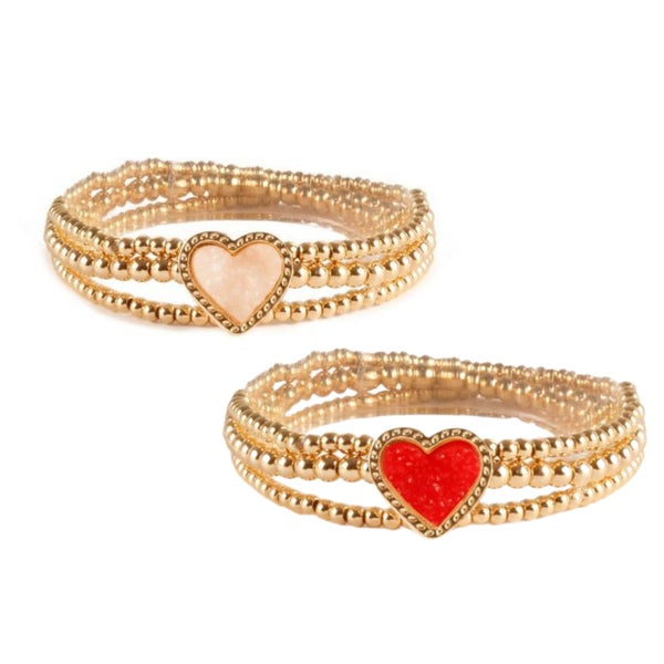 All My Lovin' - Druzy Heart Stretch Bracelet Stack