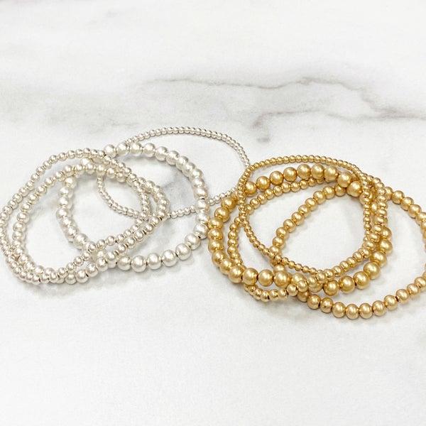 Graduated Metallic Bead Stretch Bracelets (4 Pack)