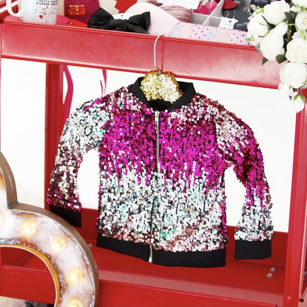Kids Sequin Bomber Jacket