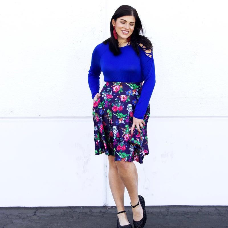 Floral Star Wars - The Maddie Yoga Waistband Skirt - Reg/Plus