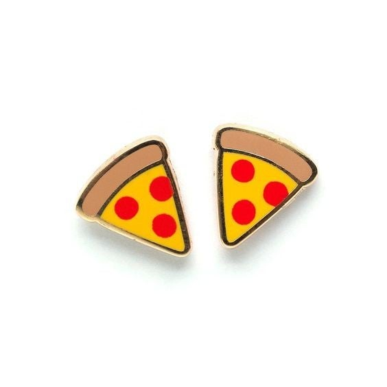 Pizza - 22k Gold Plated Stud Earrings