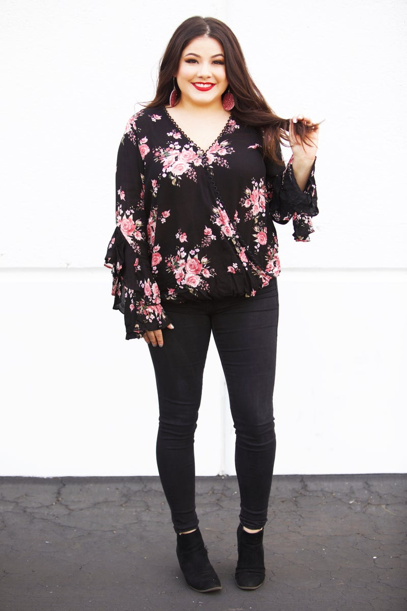 Black Floral & Lace Ruffle Sleeve Blouse - Reg/Plus