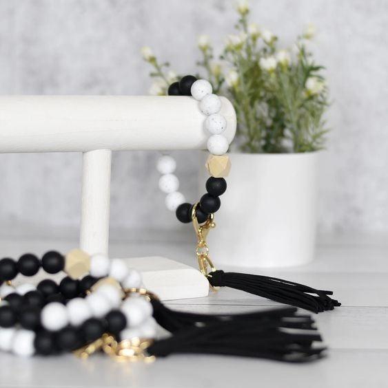 Black and White Granite Silicone Bracelet Keyring
