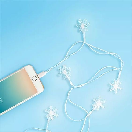 Snowflake Charging Cable - Lights up! - Lightning/MicroUSB/TypeC